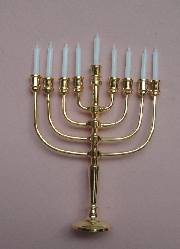 Bougeoir en métal doré avec 9 bougies et 1 sachet de 12 autres pour poupée ancienne contemporaine